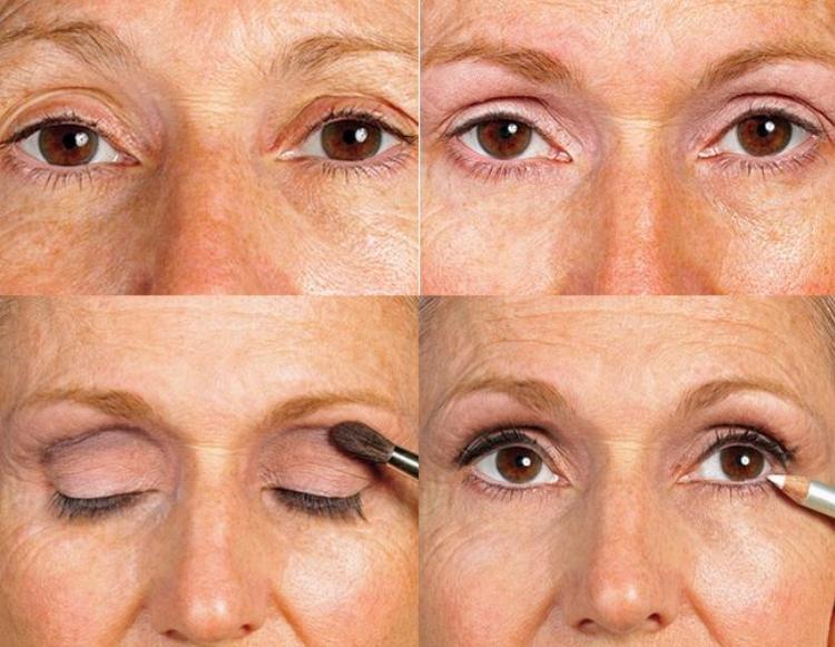 Вариант возрастного макияжа для нависшего века