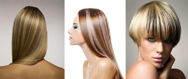 Колорирование светлых волос темными прядями -результаты с фото