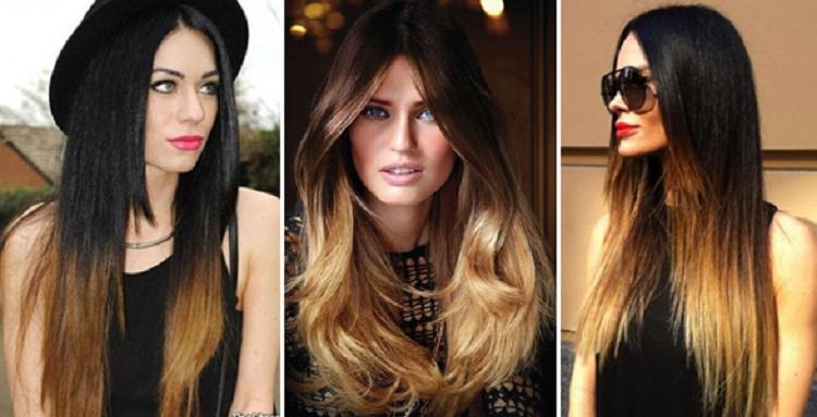 Амбре окрашивание волос фото на темные длинные волосы