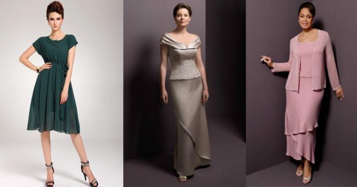 Овальный вырез для нарядного платья женщины 50 лет