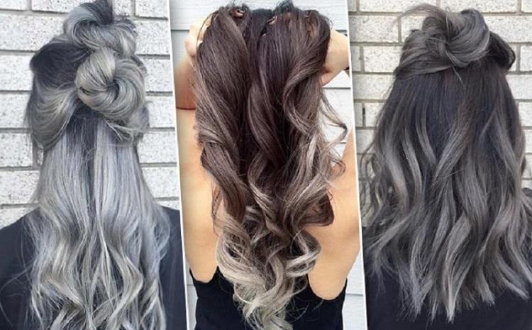 Серый балаяж на тёмные волосы