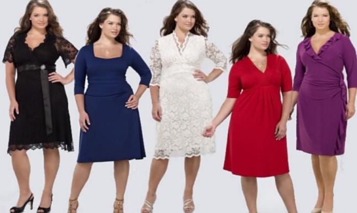 Платье для полных женщин до колена