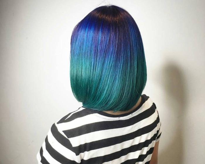 Фото омбре на темные волосы: цветное
