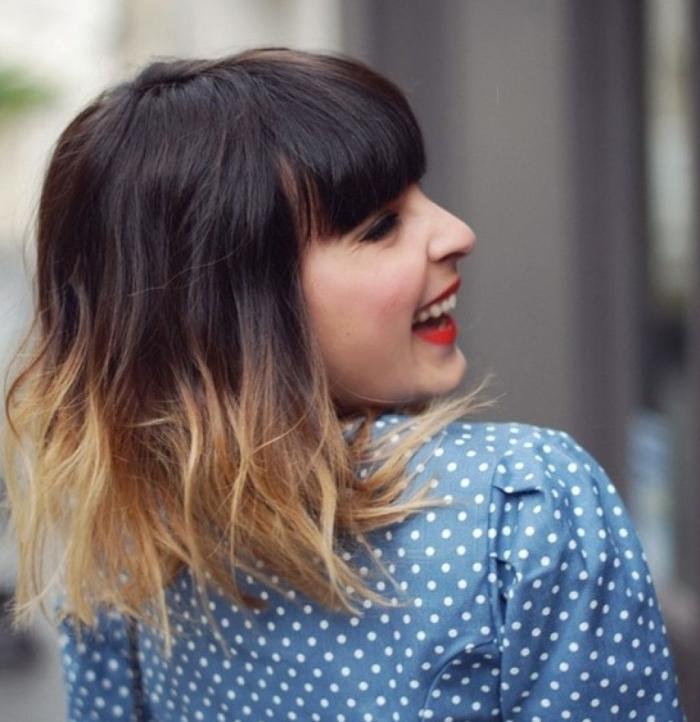 Омбре на средние волосы с челкой, фото