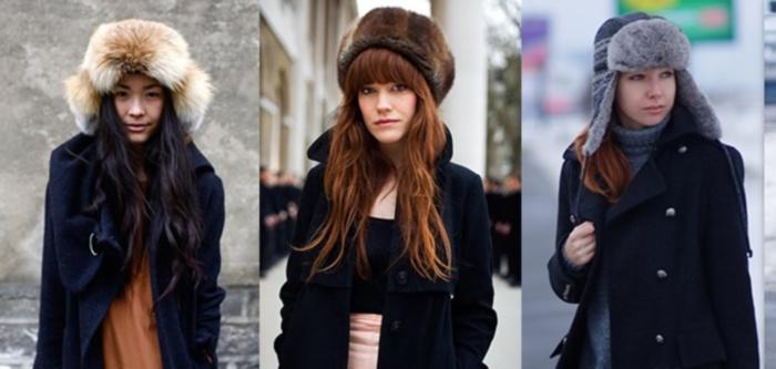 Головной убор - меховая шапка, подходит под классическое пальто для женщин