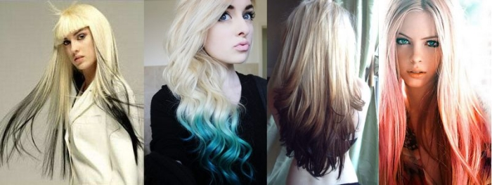 Обратное омбре на длинные волосы, фото