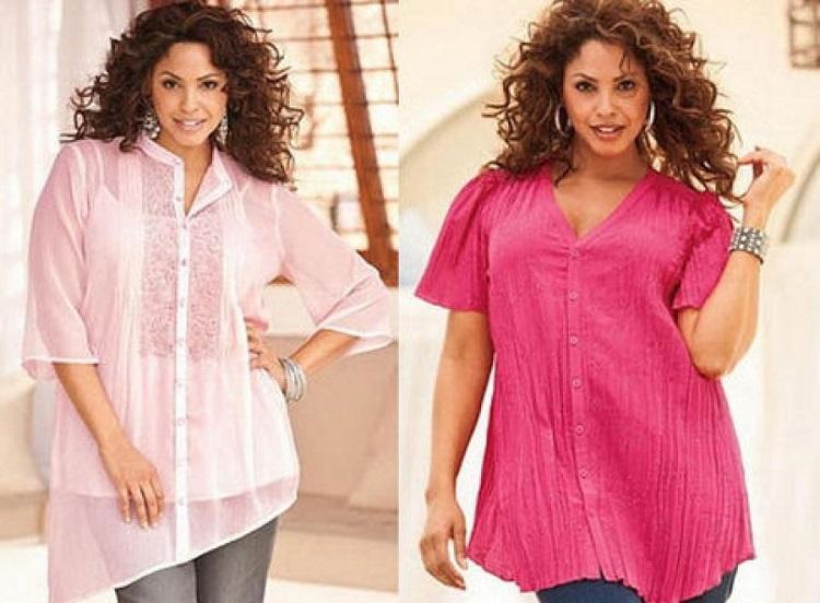 Блузки для полных женщин - как правильно подобрать фасон