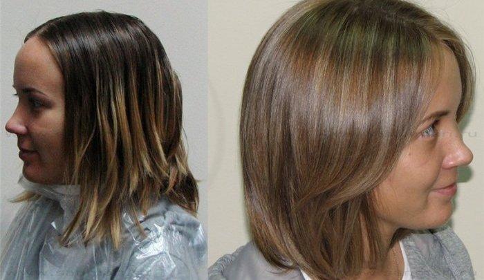 До и после мелирования коротких волос