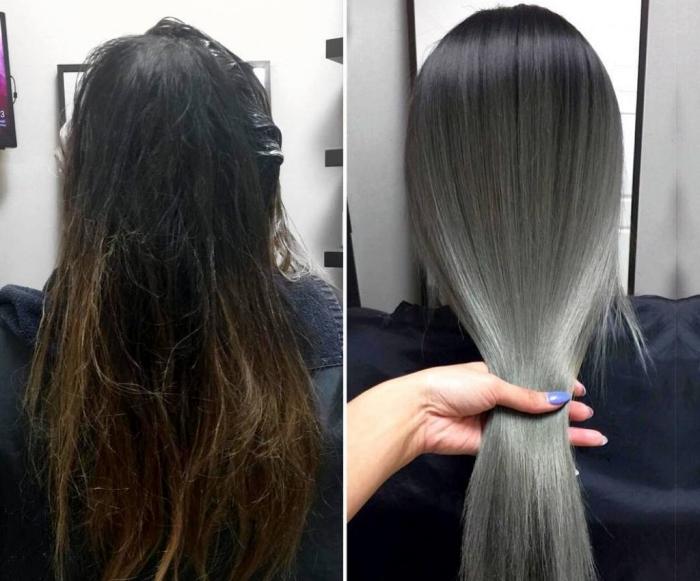 Мелирование на темные волосы: серое, белое, пепельное