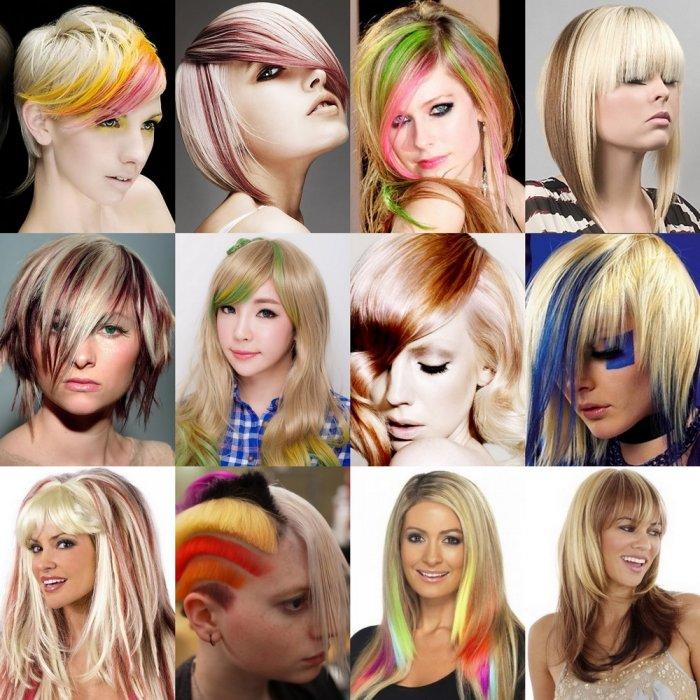 Цветное мелирование светлых волос