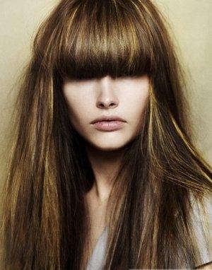 Мелирование на длинные волосы с челкой темные