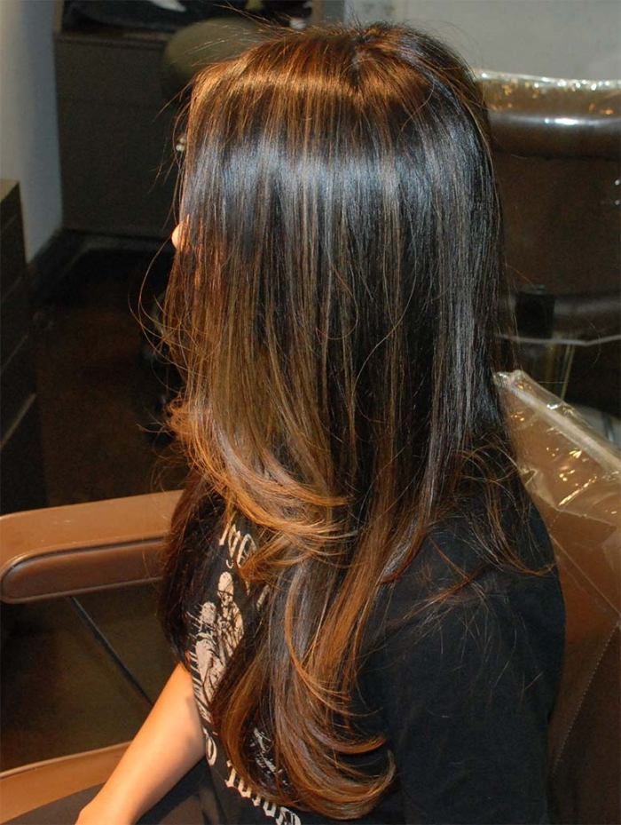 Мелирование на темные волосы: рыжее