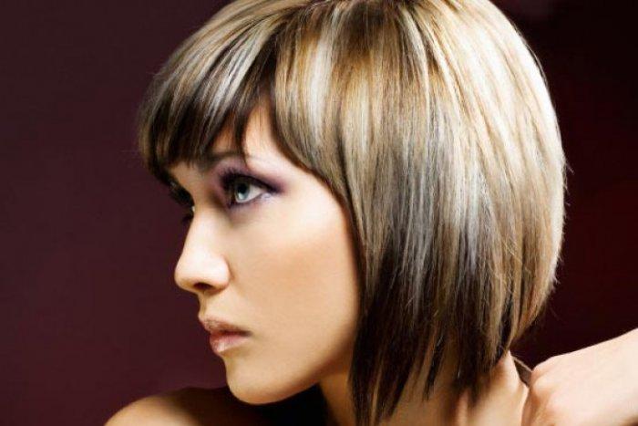 Классическое мелирование темных волос с челкой