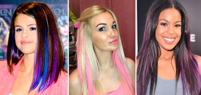 тонирование волос в домашних условиях - окраска цветными длинными прядями